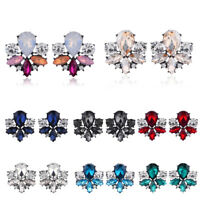 Fashion Women Lady Rhinestone Crystal Flower Dangle Earrings Ear Stud Jewelry