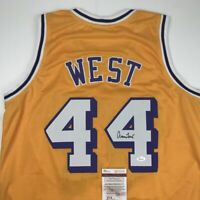 Autographed/Signed JERRY WEST Los Angeles LA Yellow Basketball Jersey JSA COA