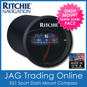 RITCHIE SPORT BLACK X21 DASH MOUNT COMPASS - Boat/Marine/Caravan/RV Panel Flush