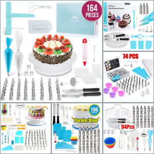 164pc Cake Decorating Supplies Kit Set Icing Nozzles Turntable Stand Equipment