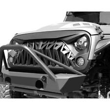 For 07-18 Jeep Wrangler JK JKU Grill Front Shark Grille Matte Black ABS