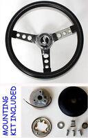 1970-1978 Mustang II Torino Grant Black Steering Wheel 13 1/2 Cobra Snake Center