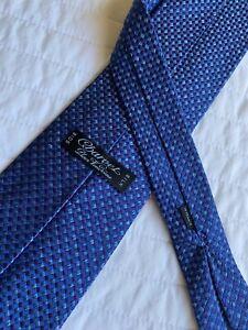Charvet Paris Blue & Purple Diamond Print Silk Neck Tie Mint!