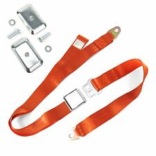 2pt Orange Airplane Buckle Lap Seat Belt w/ Flat Plate Hardware SafTboy v8