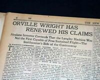 ORVILLE WRIGHT Brothers vs. Samuel P. Langley 1ST AIRPLANE Flight 1928 Newspaper