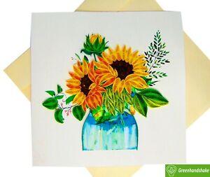 Sunflowers Arrangement Quilling Greeting Card - Unique Dedicated Handmade Art