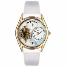 Whimsical Watches Women's C0610019 Classic Gold RN White Leather And Goldtone Wa