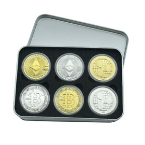 6pcs Gold Plated  BIT BTC Coin Litecoin Ripple Ethereum Coin with Metal Box