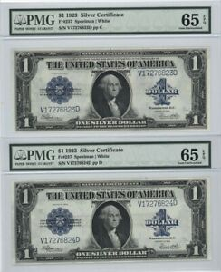 2 LARGE SIZE 1923 $1 CONSECUTIVELY NUMBERED SILVER CERTS PMG 65 GEM UNCS EPQ's