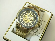 "ELGIN MEN""S STAINLESS STEEL AUTOMATIC GOLD SKELETON WATCH FG9040"