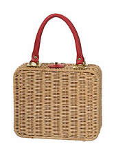 1950s Natural Rattan Boxy Handbag Fifties Rockabilly Purse Gingham Lining