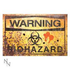Warning Biohazard Large Rusted Metal Sign Halloween Horror Decor Zombie Survival