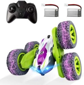 Remote Control Car, RC Cars Stunt Car Toy Double Sided 360° Rotation (Green)