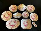 HEREND PORCELAIN INDIAN BASKET RASPBERRY DINNERWARE SET FOR 6 PERSON (25pcs.)