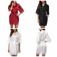 Cotton bridesmaid Robes With Lace Trim Women Wedding Bridal Robe lace