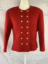 NIPON BOUTIQUE Blazer Red Wool Gold Buttons Double Breasted Lined