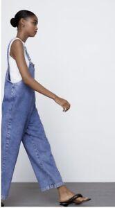 Zara Blue Denim Dungarees Jumpsuit Size Small