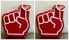 2 Boots & Barkley Foam Finger Dog Toy Plush Squeaks Crinkles Red Dog Puppy Toy