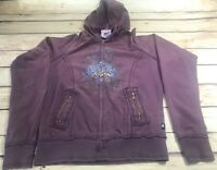 LA Kitty Junior Girls Size L Purple Graphic Zip Up Hoodie Pockets Casual Wear