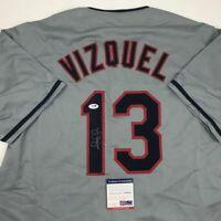 Autographed/Signed OMAR VIZQUEL Cleveland Grey Baseball Jersey PSA/DNA COA Auto