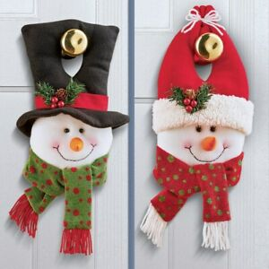 Mr and Mrs Frosty The Snowman Festive Christmas Door Knob Hanger Decorations