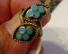 NATIVE AMERICAN OLD PAWN ZUNI STERLING  AND MULTI TURQUOISE STONE RING {Z5}