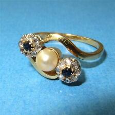 c1910 Art Nouveau 18k Gold Rose Cut Diamonds Sapphires and Pearl Ring Size 7.5