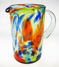Mexican Glass Pitcher, hand blown confetti swirl, for juice or margaritas