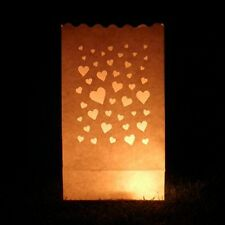Small Heart Candle Bags - 10 mini heart luminary paper lanterns, Valentine's Day