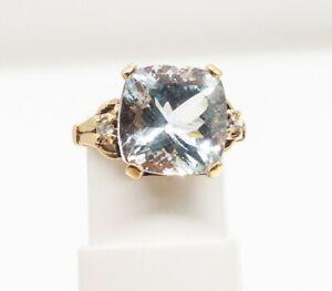 Antique 1940s RETRO $4000 10ct Natural Aquamarine Diamond 10k Yellow Gold Ring