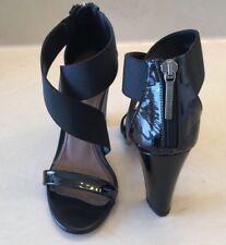 DONALD J PLINER Alli Black Patent Leather Heel Pump Sandal Dress Size 5.5