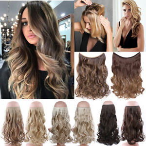 UK Full Head Thick Wire In as Real Long Hair Extensions One Piece Ombre Heaband