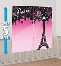 A DAY IN PARIS Scene Setter party wall decoration kit EIFFEL TOWER skyline 5'
