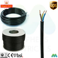 3 core 13 amp round BLACK electrical mains cable wire flex 240v various lengths