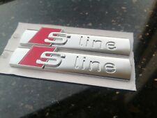 NEU! 2 x S Line Logo Silber Matt Emblem für Audi A3 A4 A5 A6 A7 Q3 Q5 Q7 Sline