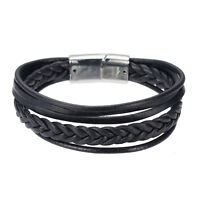 Fashion Men Simple Jewelry  Bracelet Bangle Black/Brown Concise Braided Leather