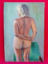 VINTAGE 1967 STANDING FEMALE NUDE OIL PAINTING SIGNED MARY CESA GAY -LESBIAN ART