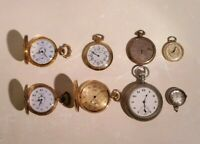 Vintage & Antique Elgin & More Pocket Watch Lot of 8 Mixed Lot For Parts 8 Total