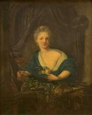 18th Century Oil on Vellum -Bare Breasted Woman with Fruit & Drinking Glass