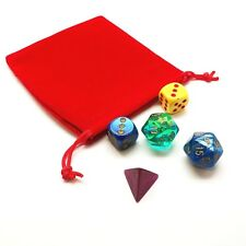 "Red Velvet Cloth Dice Bag 4"" x 4 3/4"" RED Holds 25-40 Dice"