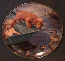 Franklin Mint Look Before You Leap Puppy Ducks Decorator