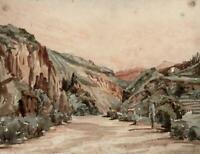 ON THE EISACK RIVER ITALY Watercolour Painting - 19TH CENTURY - GRAND TOUR