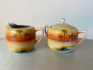 Vintage Sugar Bowl and Creamer with Palm Trees Made in Japan orange yellow green