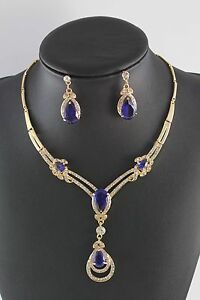 YELLOW GOLD PLATED BLUE SAPPHIRE TOPAZ CRYSTAL NECKLACE EARRINGS JEWELRY SET