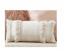 Bohemian Moroccan Cream Fringe Cotton Indoor Pillow Cover Cushion Boho 30x50 CM