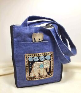Small BLUE Fabric PURSE TOTE BAG Elephant CLASP Sequins Design