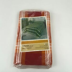 Vintage JC Penney Bedspread Throw Style Bunk Size Orange Plaid 100% Cotton