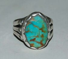 Navajo Sterling Silver Ring with Royston Turquoise Size 7