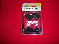 retro FURRY little SHOES-hangs anywhere-BLACK/RED-hot rod car accessory-NOS NEW
