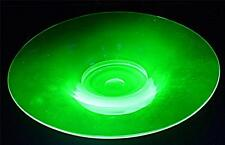STUNNING STYLISH ART DECO URANIUM GREEN GLASS CENTREPIECE FRUIT BOWL 32cm WIDE